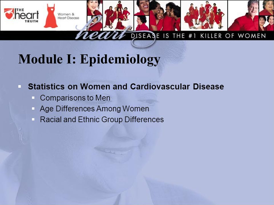 Module I: Epidemiology  Statistics on Women and Cardiovascular Disease  Comparisons to Men  Age Differences Among Women  Racial and Ethnic Group Differences