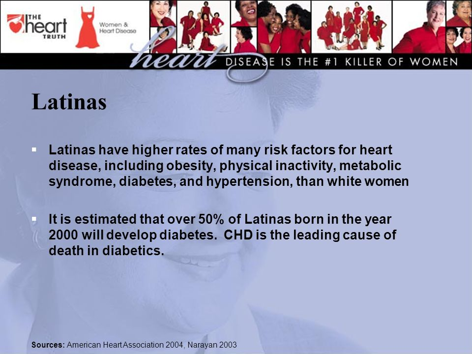 Latinas  Latinas have higher rates of many risk factors for heart disease, including obesity, physical inactivity, metabolic syndrome, diabetes, and hypertension, than white women  It is estimated that over 50% of Latinas born in the year 2000 will develop diabetes.