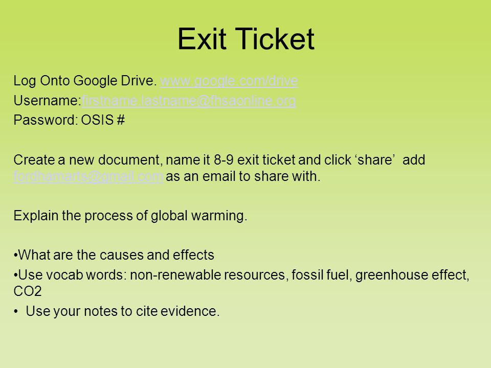 Log Onto Google Drive.