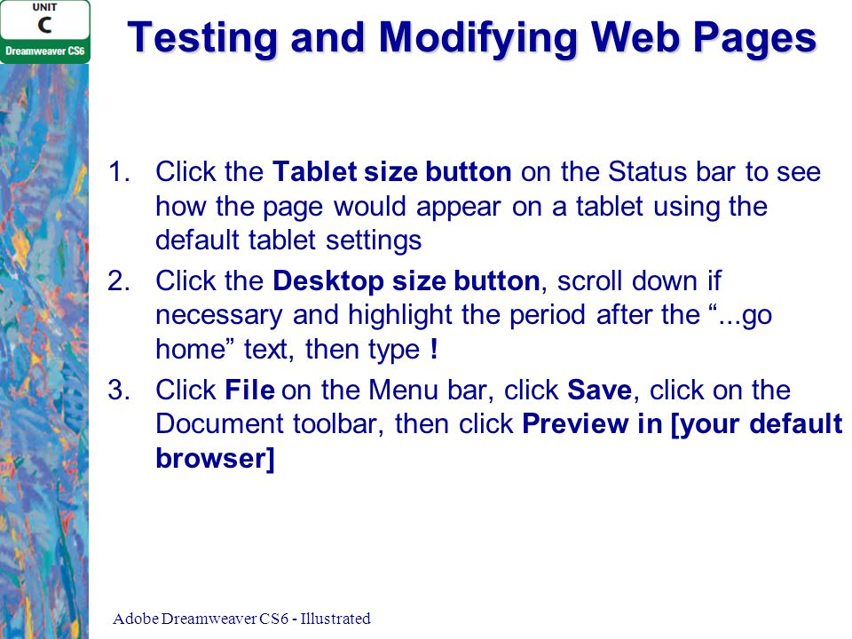 Testing and Modifying Web Pages 1.