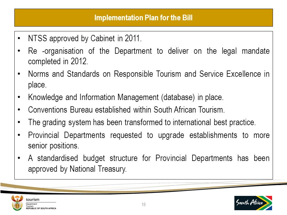 Implementation Plan for the Bill NTSS approved by Cabinet in 2011.