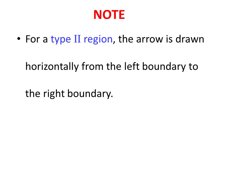NOTE For a type II region, the arrow is drawn horizontally from the left boundary to the right boundary.
