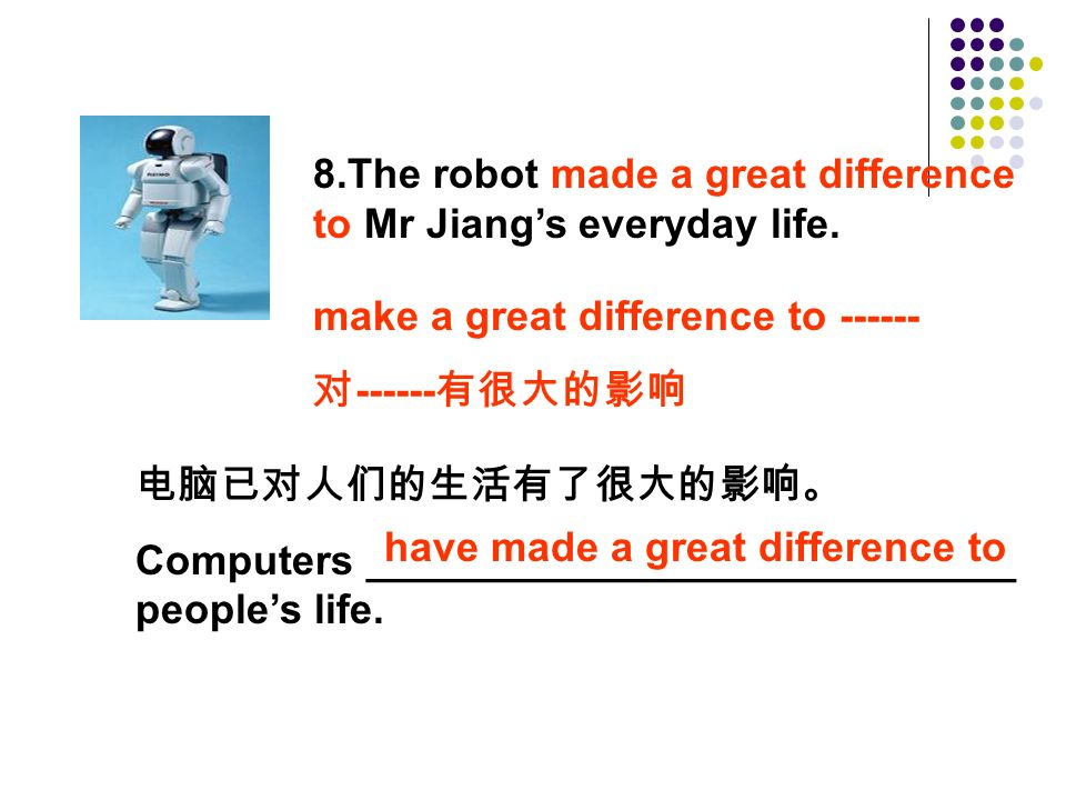 8.The robot made a great difference to Mr Jiang's everyday life.