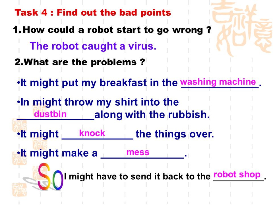 Task 4 : Find out the bad points 1.How could a robot start to go wrong .