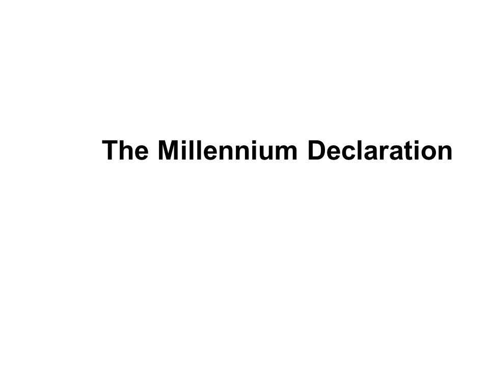 The Millennium Declaration