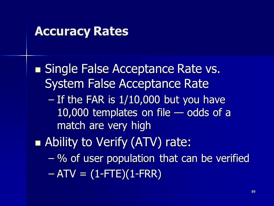 89 Accuracy Rates Single False Acceptance Rate vs.