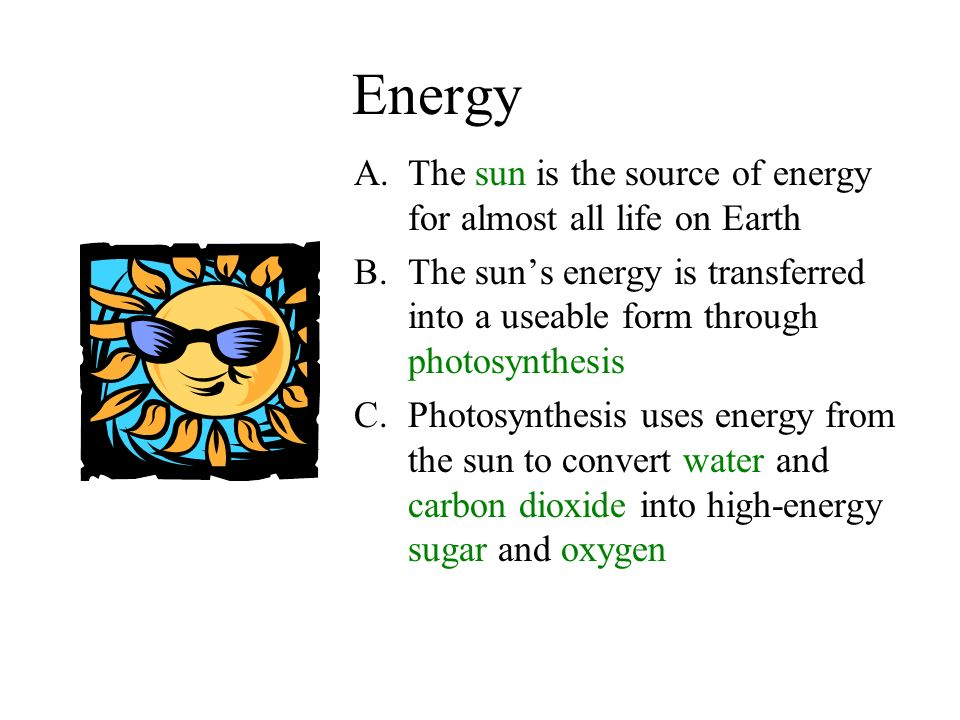 Energy A.The sun is the source of energy for almost all life on Earth B.The sun's energy is transferred into a useable form through photosynthesis C.Photosynthesis uses energy from the sun to convert water and carbon dioxide into high-energy sugar and oxygen