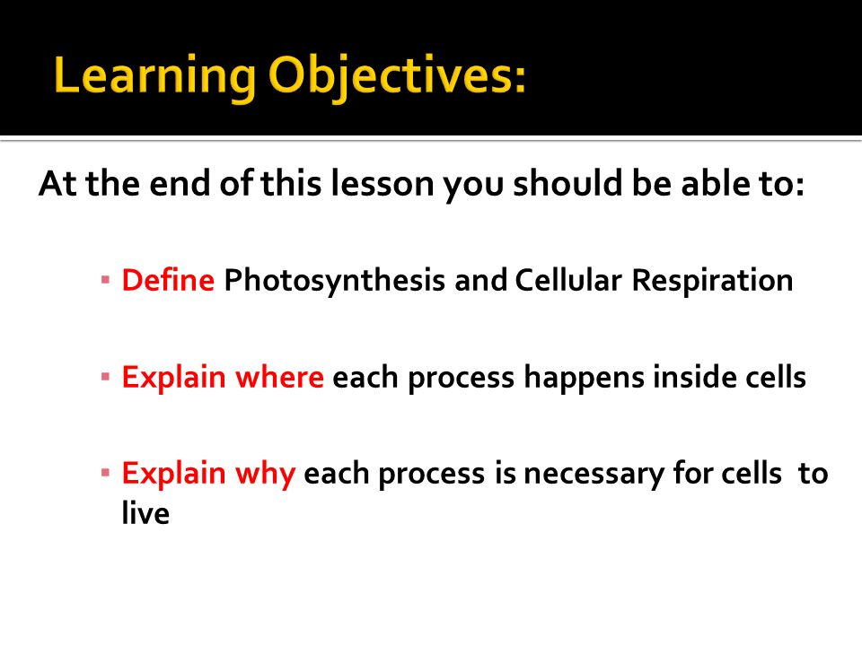 At the end of this lesson you should be able to: ▪ Define Photosynthesis and Cellular Respiration ▪ Explain where each process happens inside cells ▪ Explain why each process is necessary for cells to live