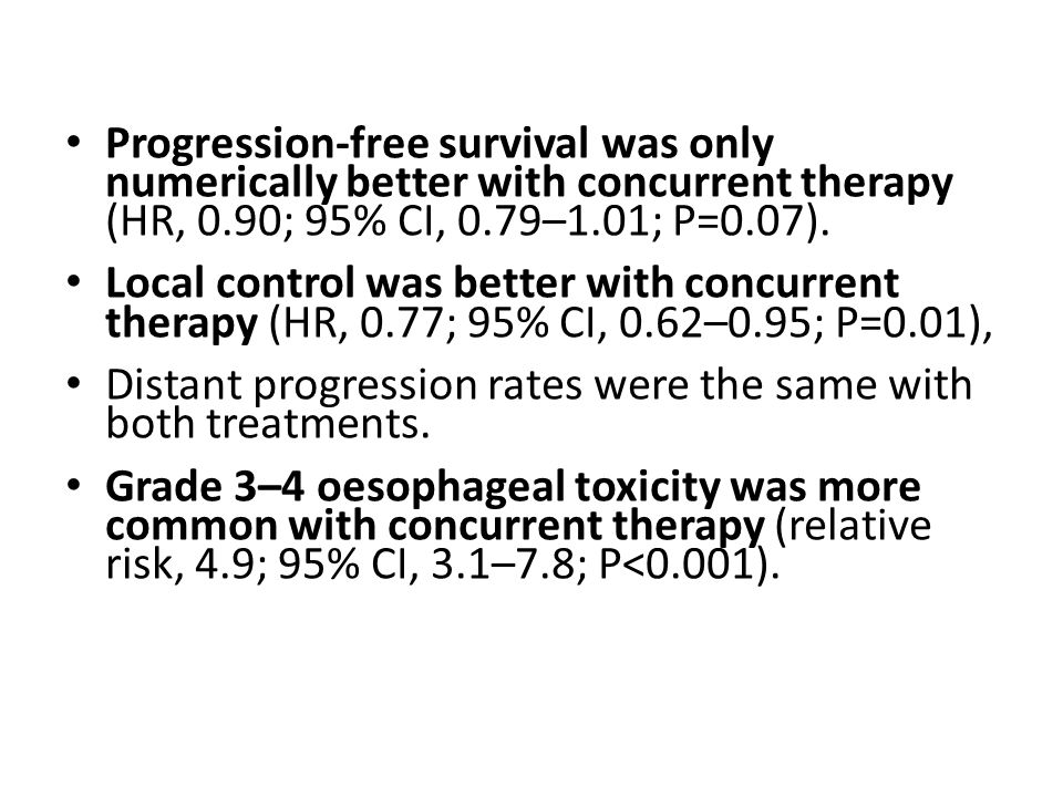 Progression-free survival was only numerically better with concurrent therapy (HR, 0.90; 95% CI, 0.79–1.01; P=0.07).