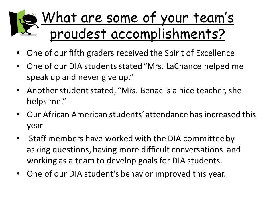 proudest accomplishments