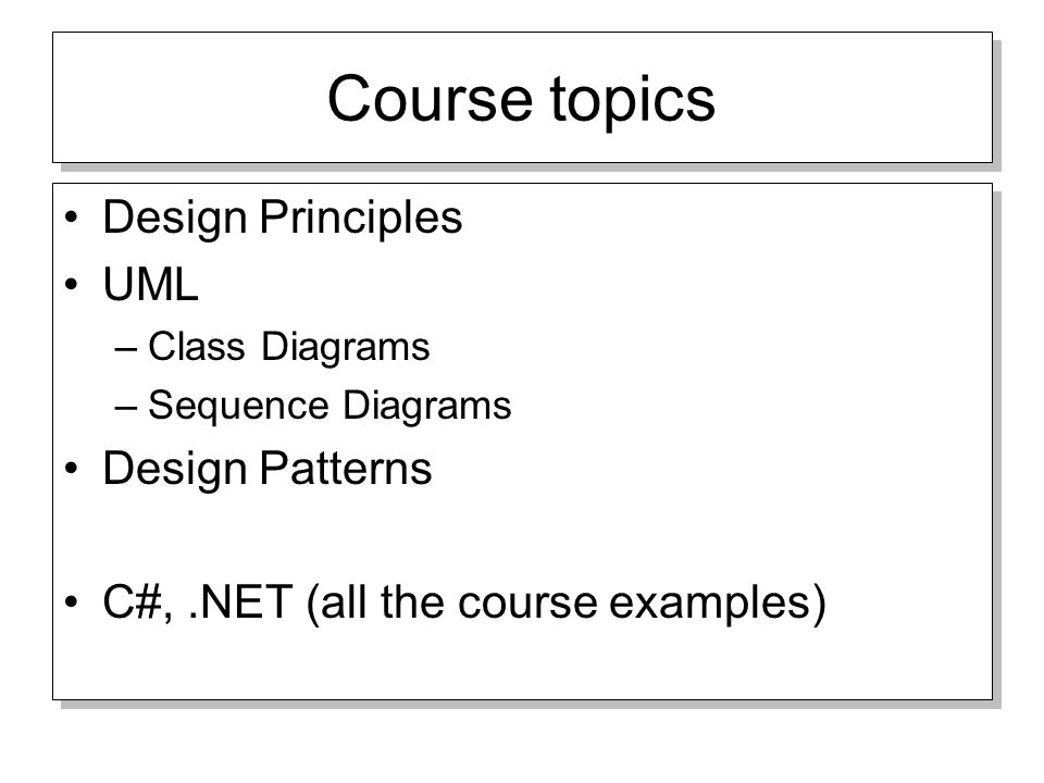 Design patterns ood course topics design principles uml class 2 course topics design principles uml class diagrams sequence diagrams design patterns c all the course examples design principles uml class ccuart Image collections