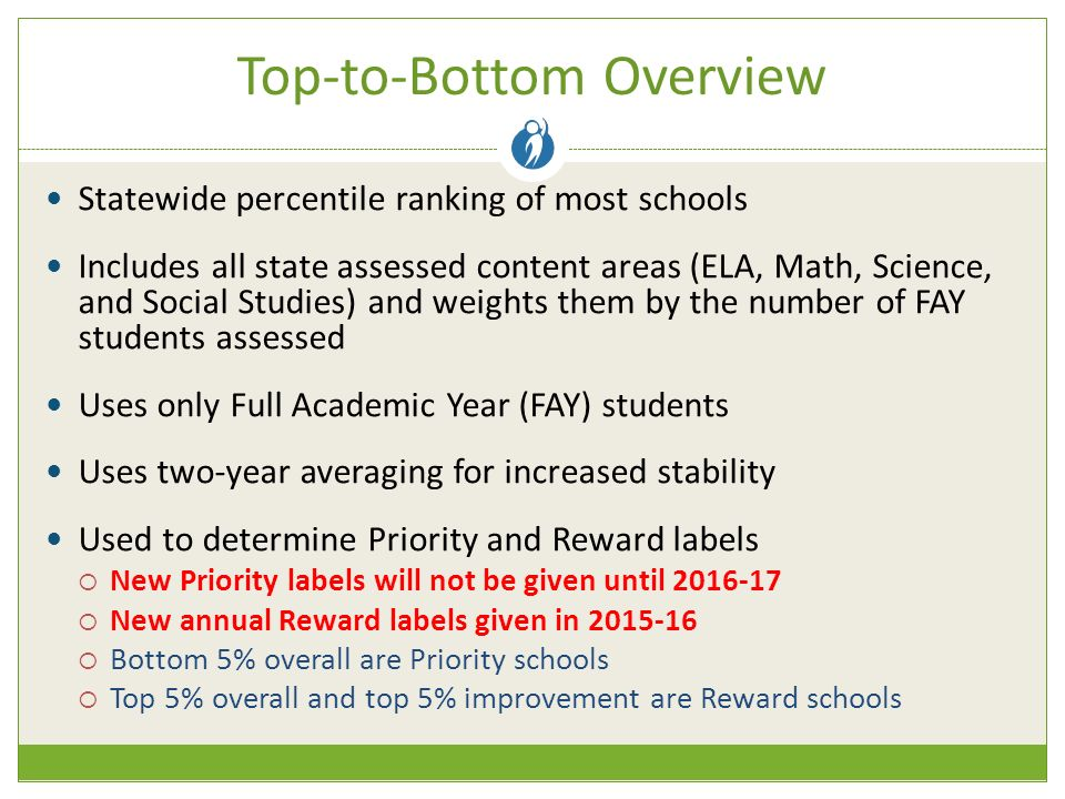 Top-to-Bottom Overview Statewide percentile ranking of most schools Includes all state assessed content areas (ELA, Math, Science, and Social Studies) and weights them by the number of FAY students assessed Uses only Full Academic Year (FAY) students Uses two-year averaging for increased stability Used to determine Priority and Reward labels  New Priority labels will not be given until  New annual Reward labels given in  Bottom 5% overall are Priority schools  Top 5% overall and top 5% improvement are Reward schools