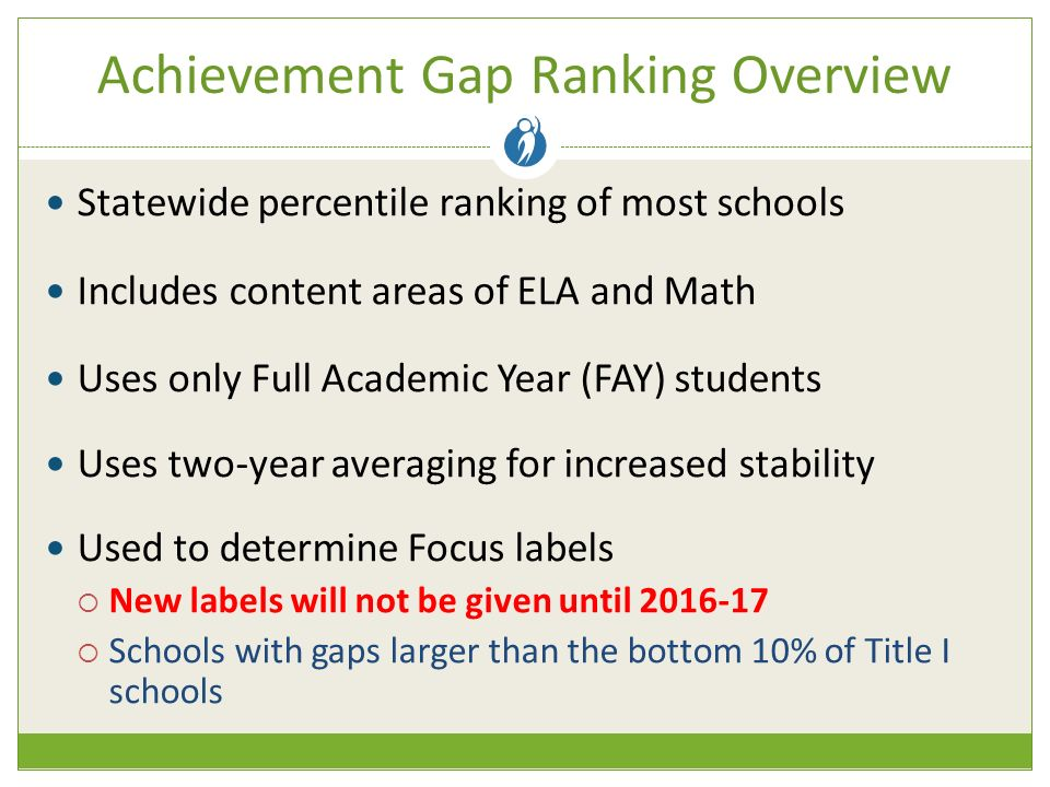 Achievement Gap Ranking Overview Statewide percentile ranking of most schools Includes content areas of ELA and Math Uses only Full Academic Year (FAY) students Uses two-year averaging for increased stability Used to determine Focus labels  New labels will not be given until  Schools with gaps larger than the bottom 10% of Title I schools