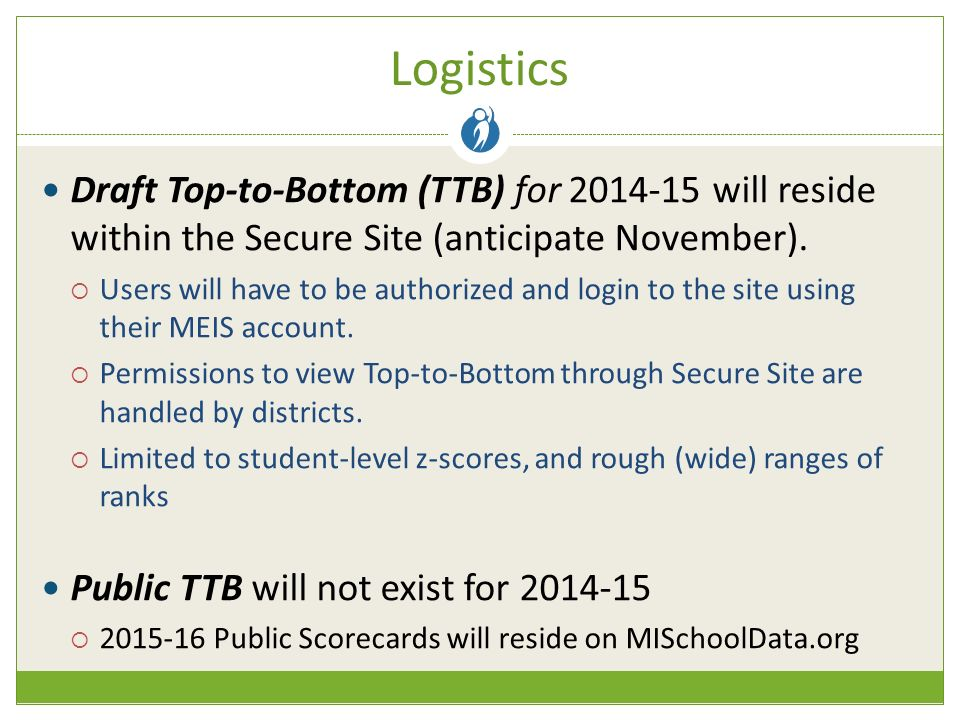 Logistics Draft Top-to-Bottom (TTB) for will reside within the Secure Site (anticipate November).
