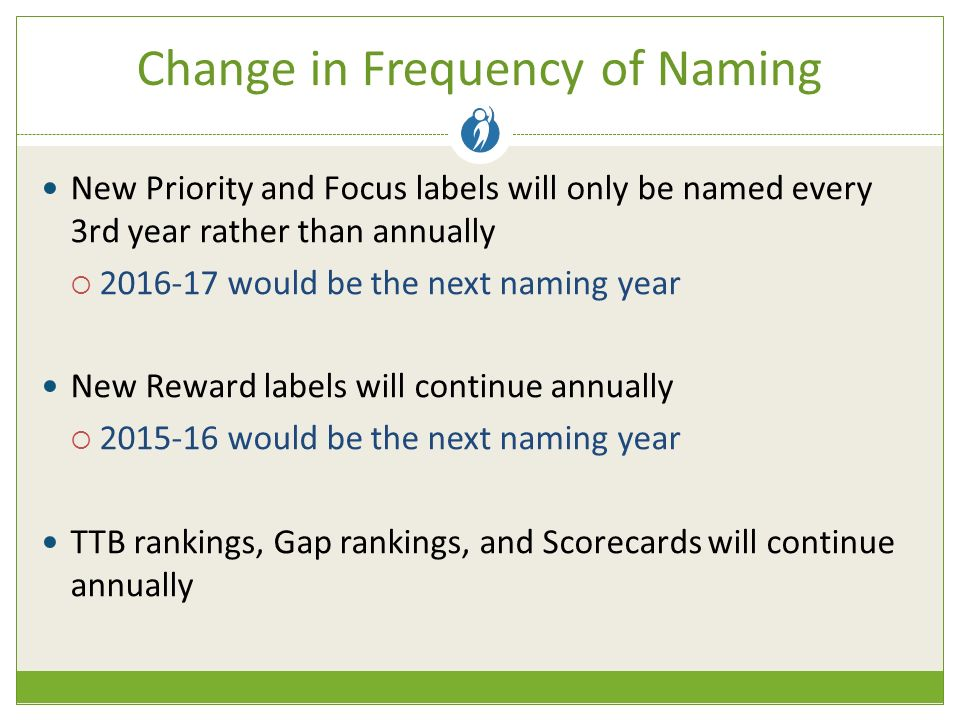 Change in Frequency of Naming New Priority and Focus labels will only be named every 3rd year rather than annually  would be the next naming year New Reward labels will continue annually  would be the next naming year TTB rankings, Gap rankings, and Scorecards will continue annually
