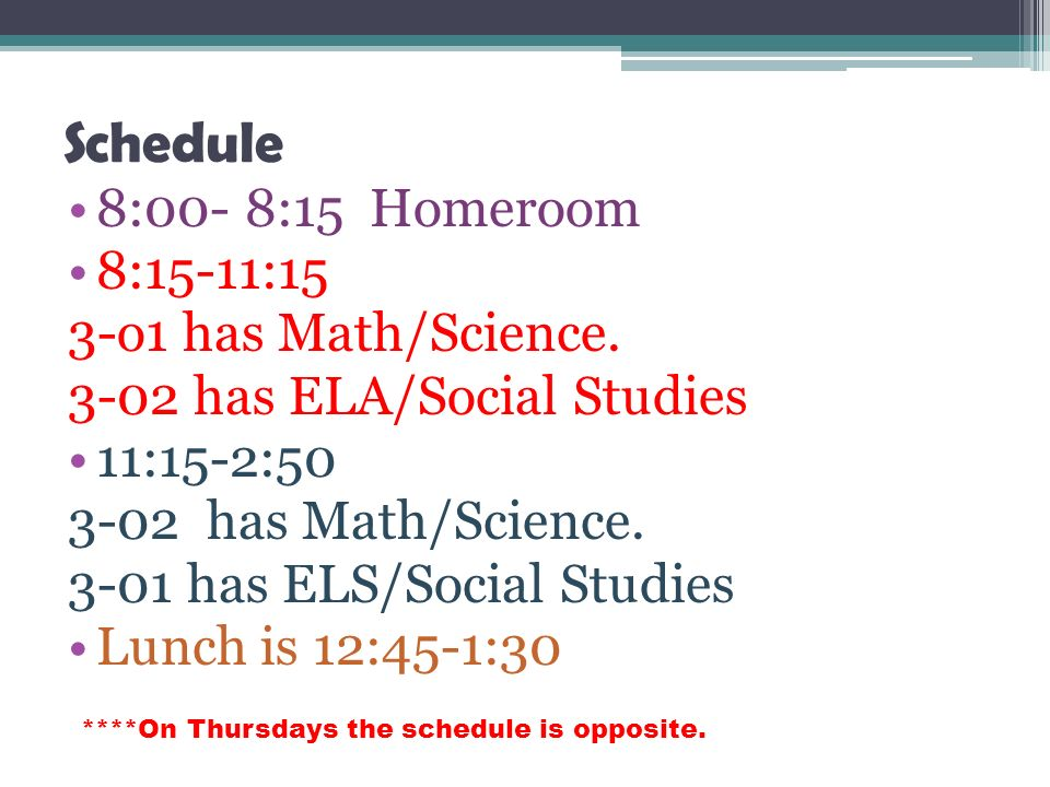 Schedule 8:00- 8:15 Homeroom 8:15-11:15 3-o1 has Math/Science.