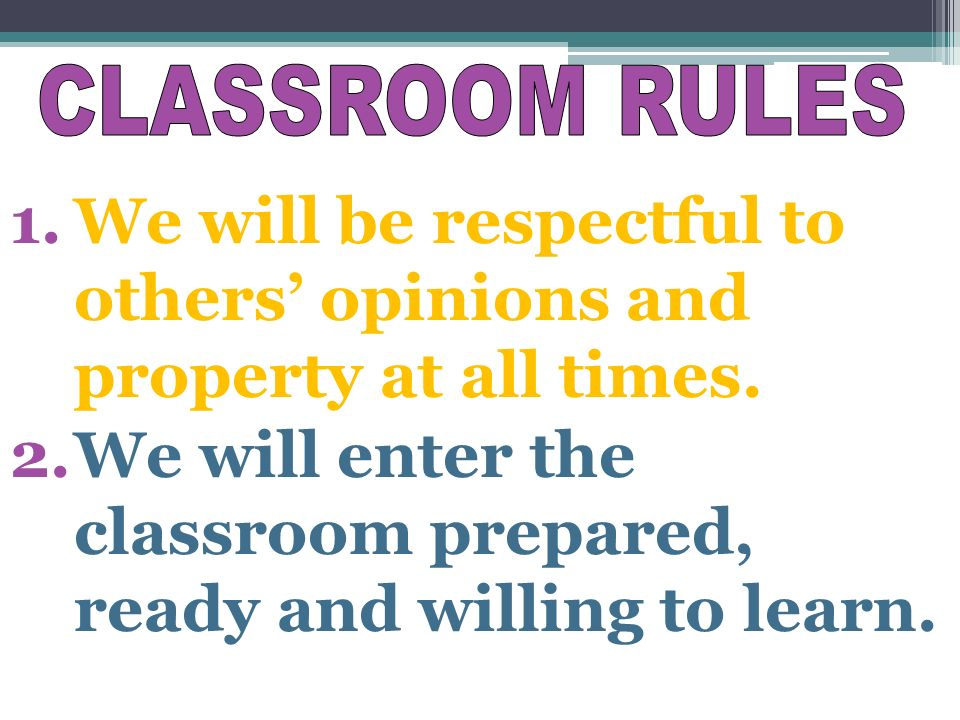 1.We will be respectful to others' opinions and property at all times.