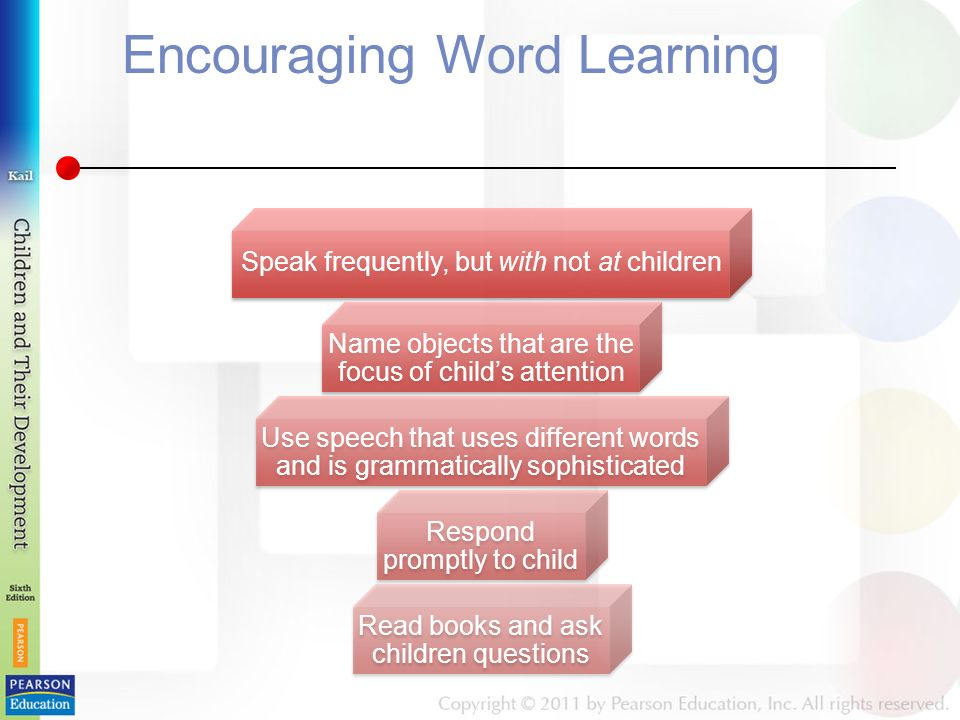 Encouraging Word Learning Speak frequently, but with not at children Name objects that are the focus of child's attention Use speech that uses different words and is grammatically sophisticated Respond promptly to child Read books and ask children questions