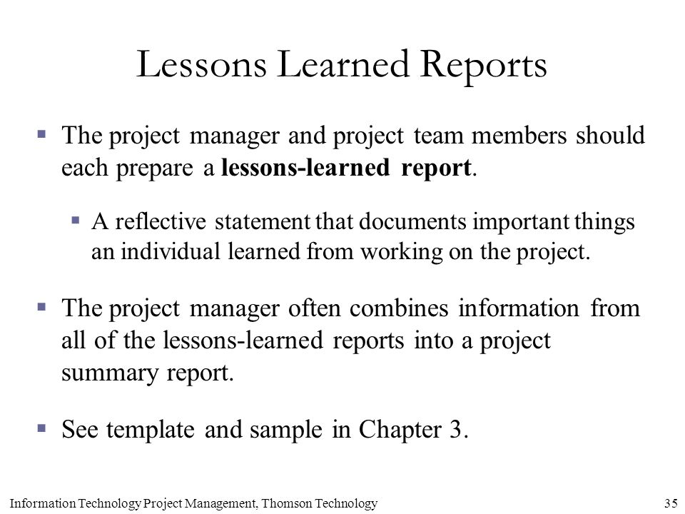 writing a lessons learned report