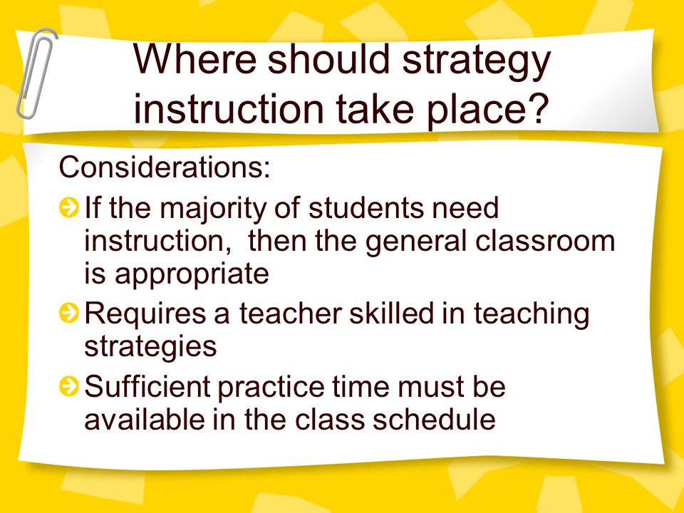 Where should strategy instruction take place.