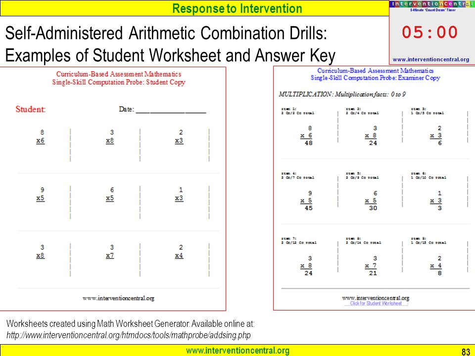 math worksheet : response to intervention rti an overview for educators jim wright  : Intervention Central Math Worksheet Generator