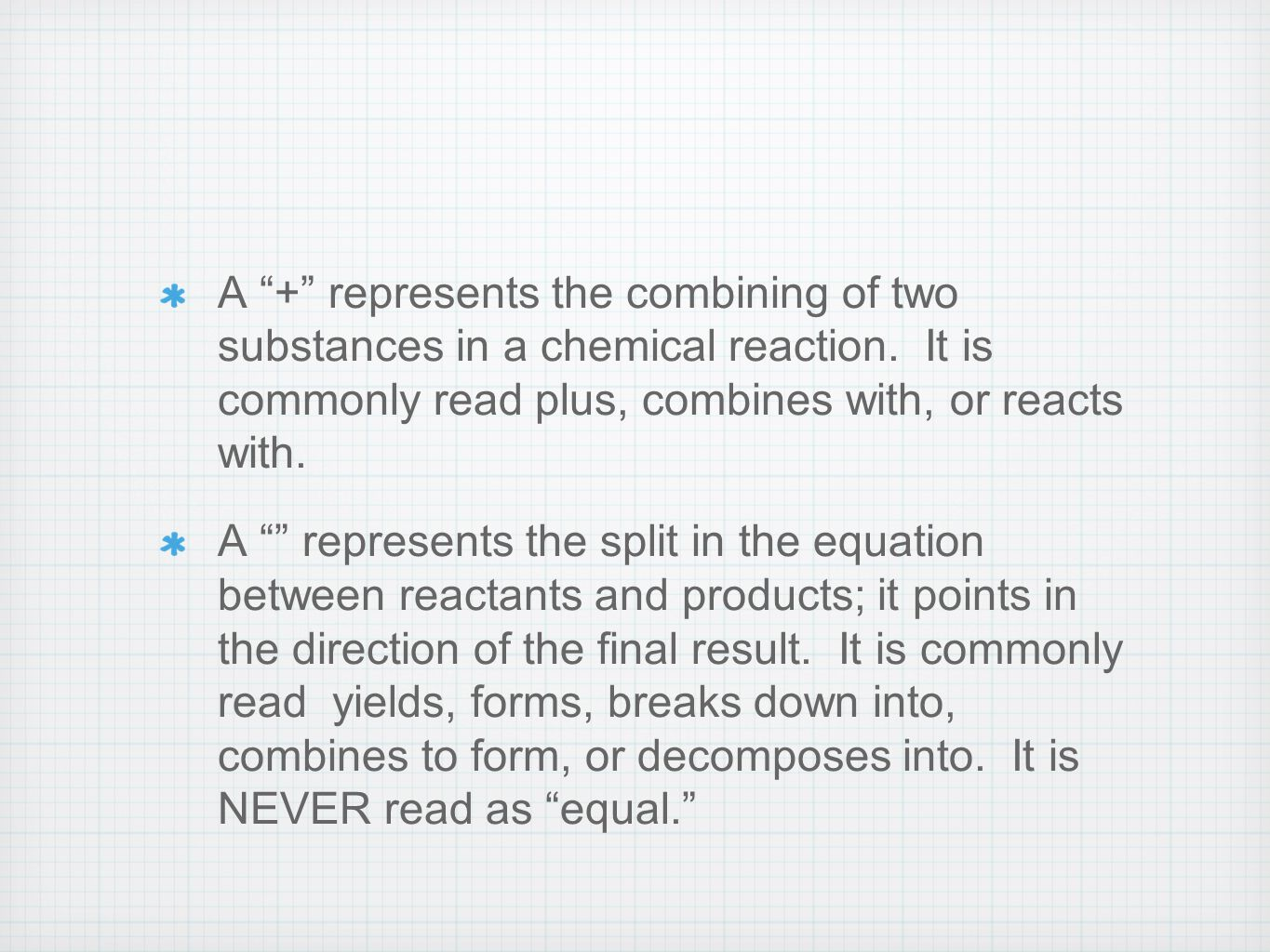 A + represents the combining of two substances in a chemical reaction.