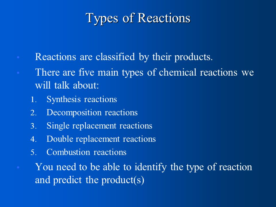 Types of Reactions Reactions are classified by their products.