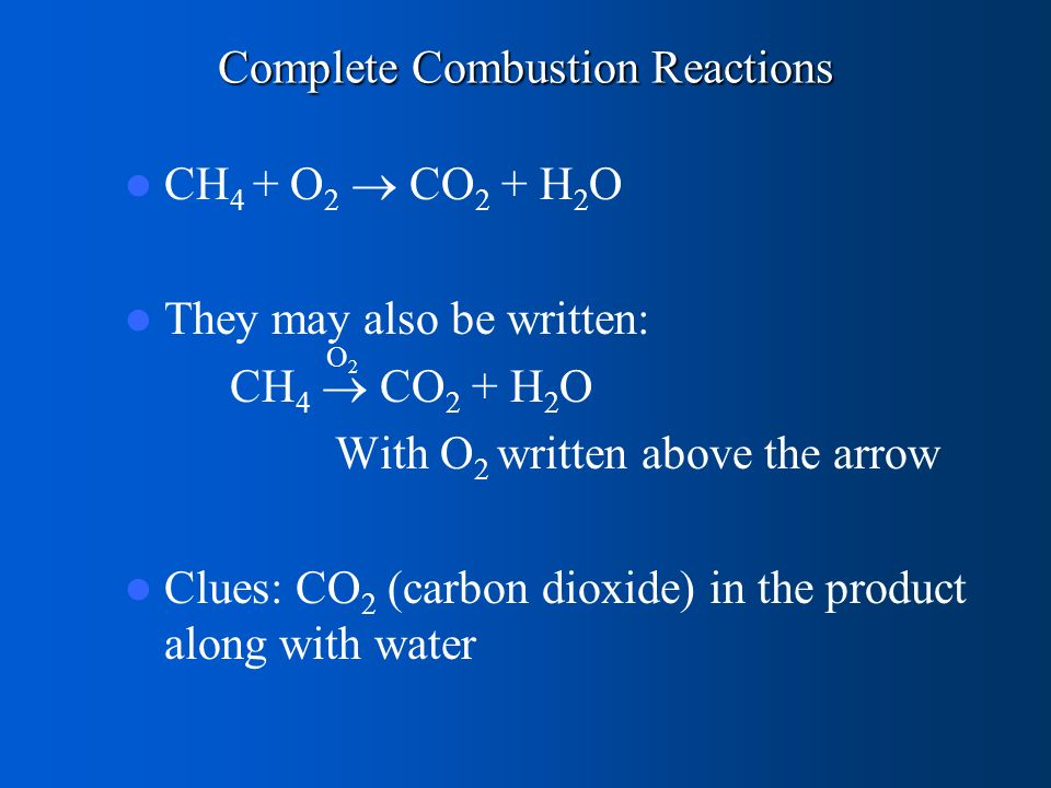 Complete Combustion Reactions CH 4 + O 2  CO 2 + H 2 O They may also be written: CH 4  CO 2 + H 2 O With O 2 written above the arrow Clues: CO 2 (carbon dioxide) in the product along with water O2O2