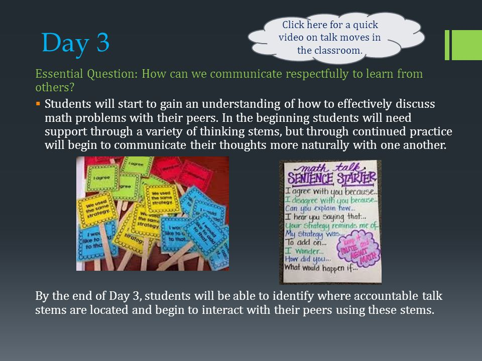 Day 3 Essential Question: How can we communicate respectfully to learn from others.