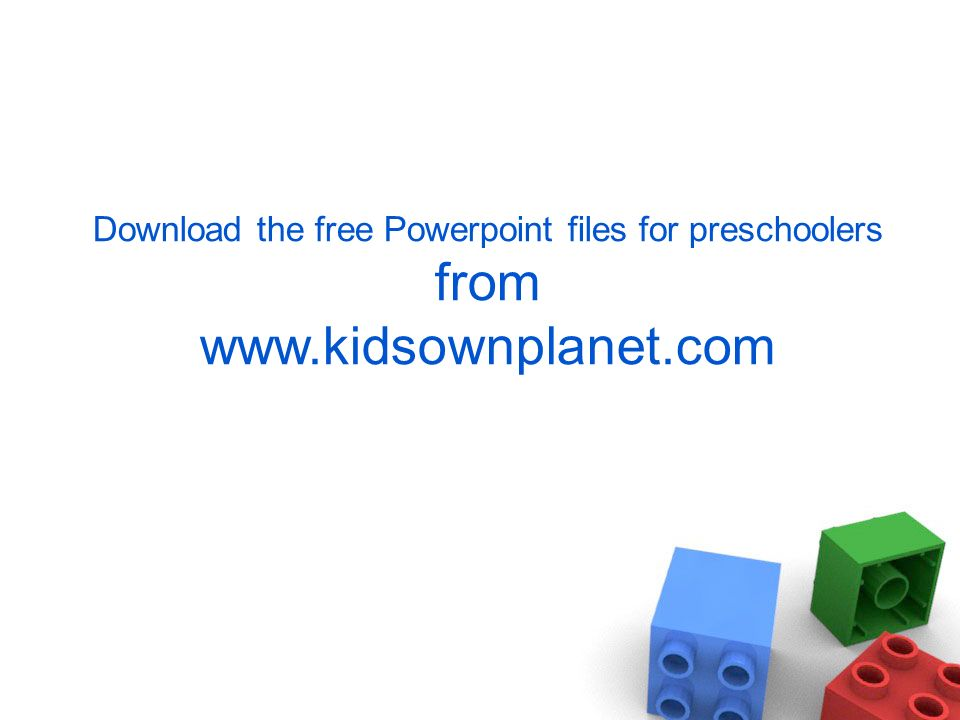 Download the free Powerpoint files for preschoolers from