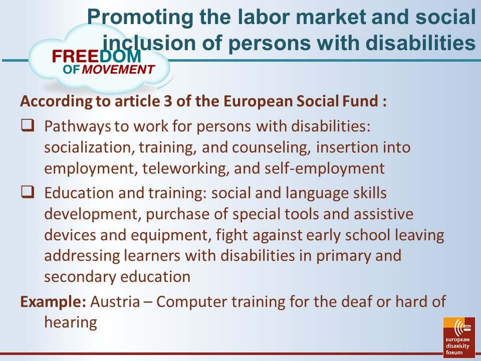 Promoting the labor market and social inclusion of persons with disabilities According to article 3 of the European Social Fund :  Pathways to work for persons with disabilities: socialization, training, and counseling, insertion into employment, teleworking, and self-employment  Education and training: social and language skills development, purchase of special tools and assistive devices and equipment, fight against early school leaving addressing learners with disabilities in primary and secondary education Example: Austria – Computer training for the deaf or hard of hearing