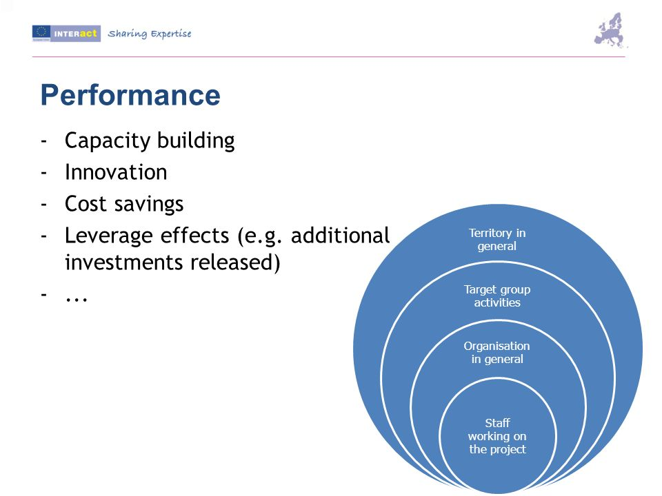 Performance -Capacity building -Innovation -Cost savings -Leverage effects (e.g.