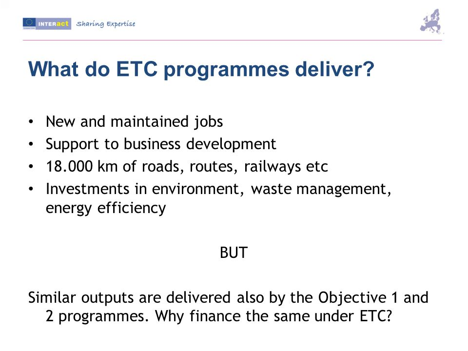 What do ETC programmes deliver.