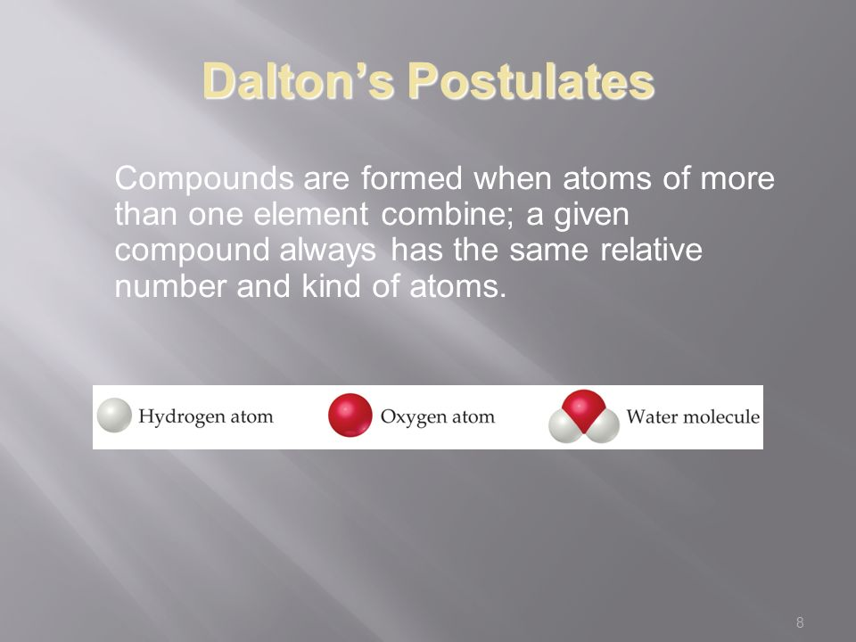 8 Dalton's Postulates Compounds are formed when atoms of more than one element combine; a given compound always has the same relative number and kind of atoms.