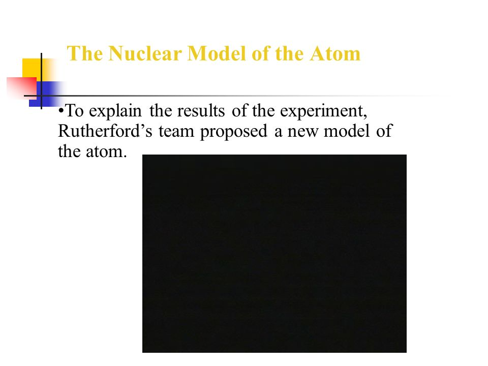 The Nuclear Model of the Atom To explain the results of the experiment, Rutherford's team proposed a new model of the atom.