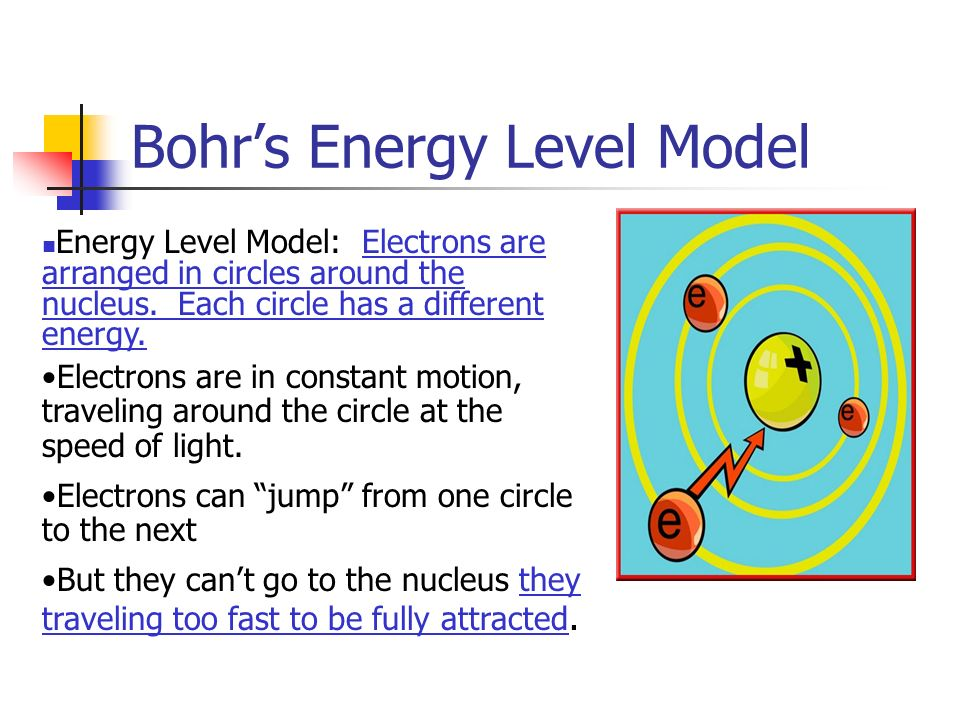 Bohr's Energy Level Model Energy Level Model: Electrons are arranged in circles around the nucleus.