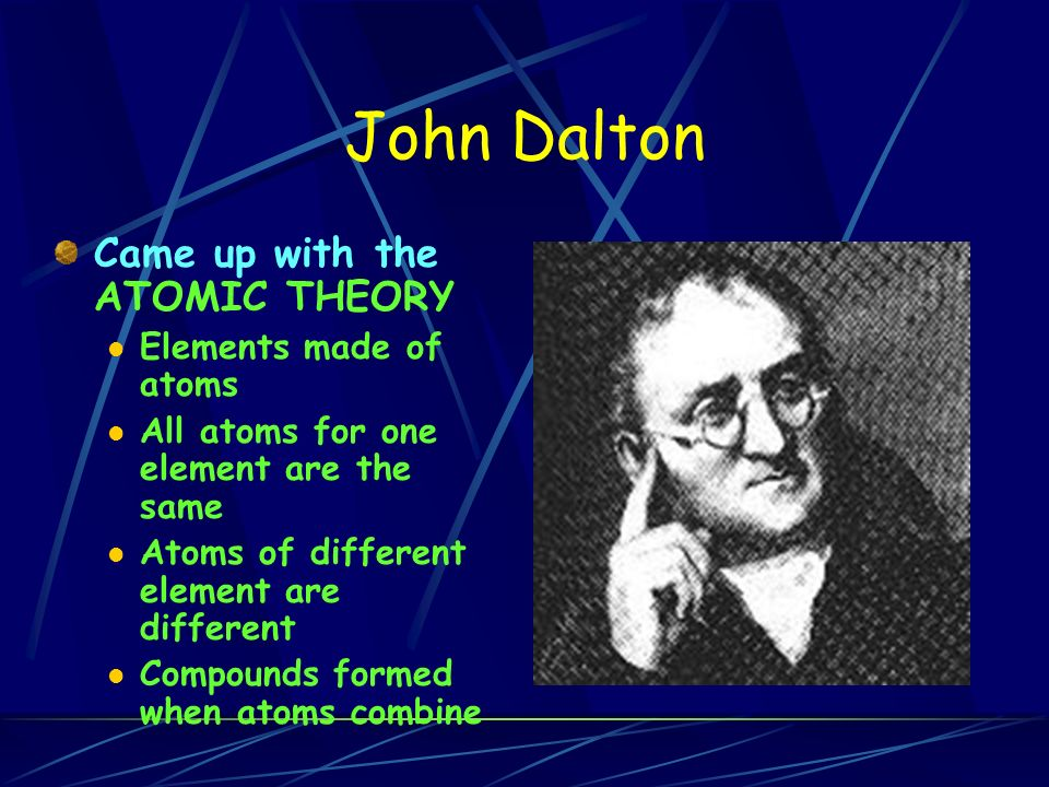John Dalton Came up with the ATOMIC THEORY Elements made of atoms All atoms for one element are the same Atoms of different element are different Compounds formed when atoms combine