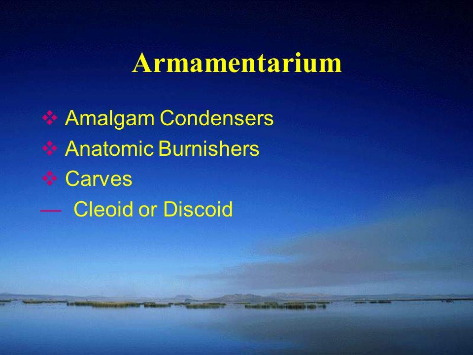 Armamentarium  Amalgam Condensers  Anatomic Burnishers  Carves — Cleoid or Discoid
