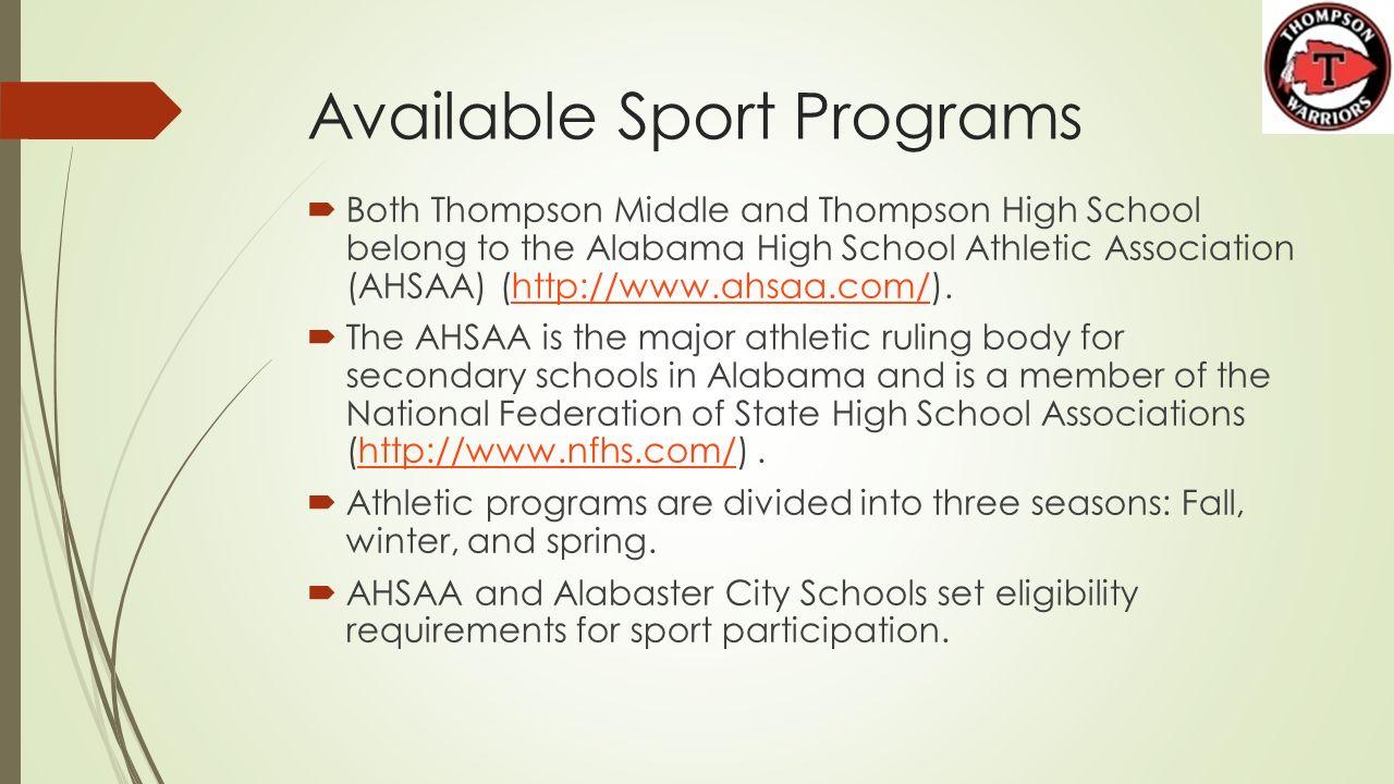 Alabaster Athletics 101 COMMUNITY AWARNESS PROGRAM THOMPSON MIDDLE ...