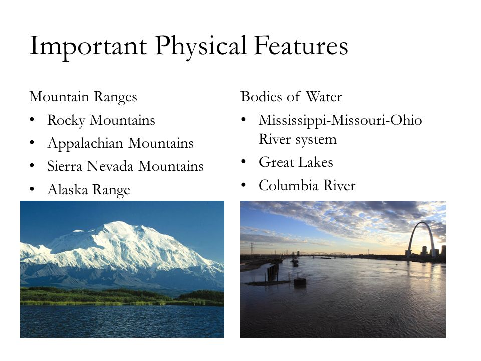 North American Physical Geography The United States And Canada All - Physical characteristics of the united states