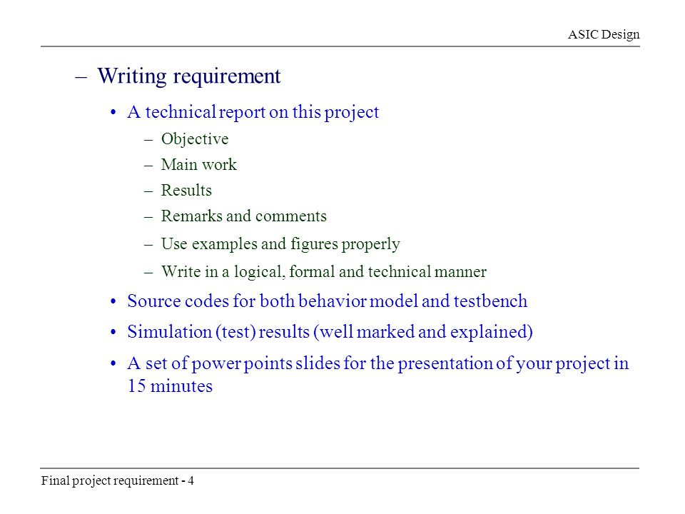 Write Technical Report - How to write technical requirements