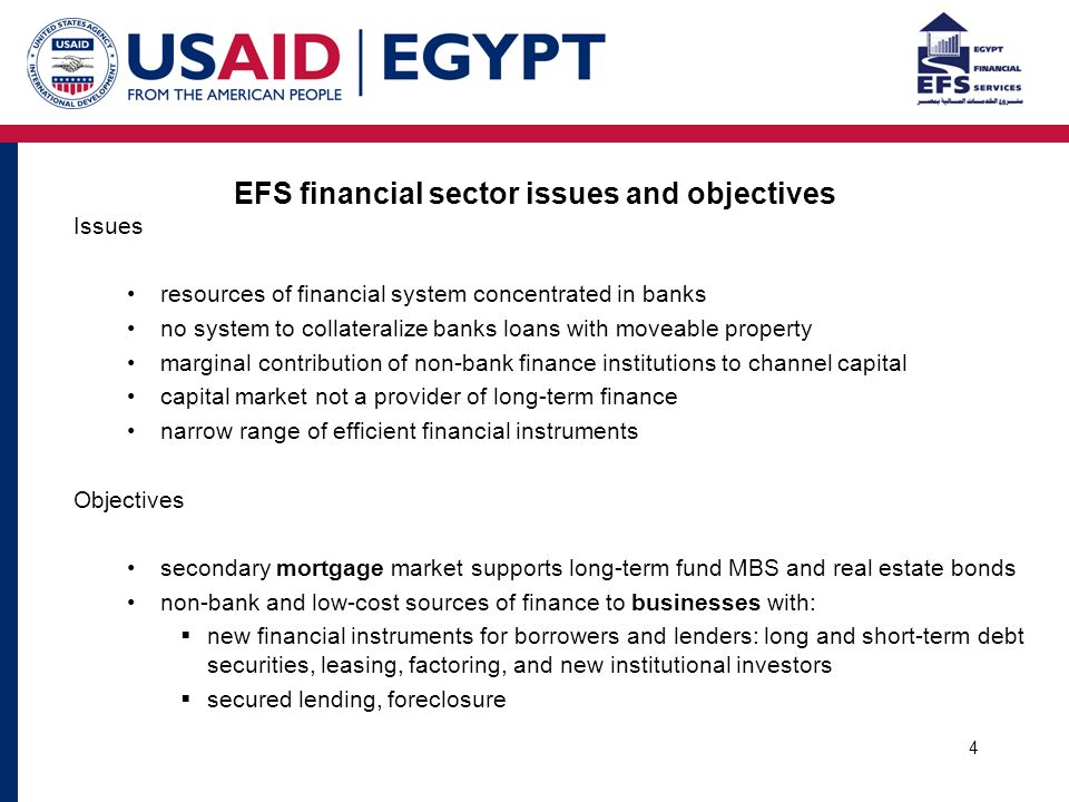 4 EFS financial sector issues and objectives Issues resources of financial system concentrated in banks no system to collateralize banks loans with moveable property marginal contribution of non-bank finance institutions to channel capital capital market not a provider of long-term finance narrow range of efficient financial instruments Objectives secondary mortgage market supports long-term fund MBS and real estate bonds non-bank and low-cost sources of finance to businesses with:  new financial instruments for borrowers and lenders: long and short-term debt securities, leasing, factoring, and new institutional investors  secured lending, foreclosure