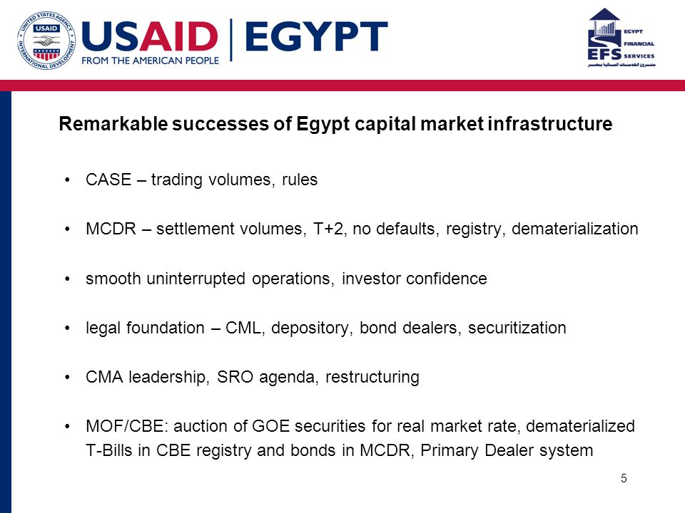 5 Remarkable successes of Egypt capital market infrastructure CASE – trading volumes, rules MCDR – settlement volumes, T+2, no defaults, registry, dematerialization smooth uninterrupted operations, investor confidence legal foundation – CML, depository, bond dealers, securitization CMA leadership, SRO agenda, restructuring MOF/CBE: auction of GOE securities for real market rate, dematerialized T-Bills in CBE registry and bonds in MCDR, Primary Dealer system