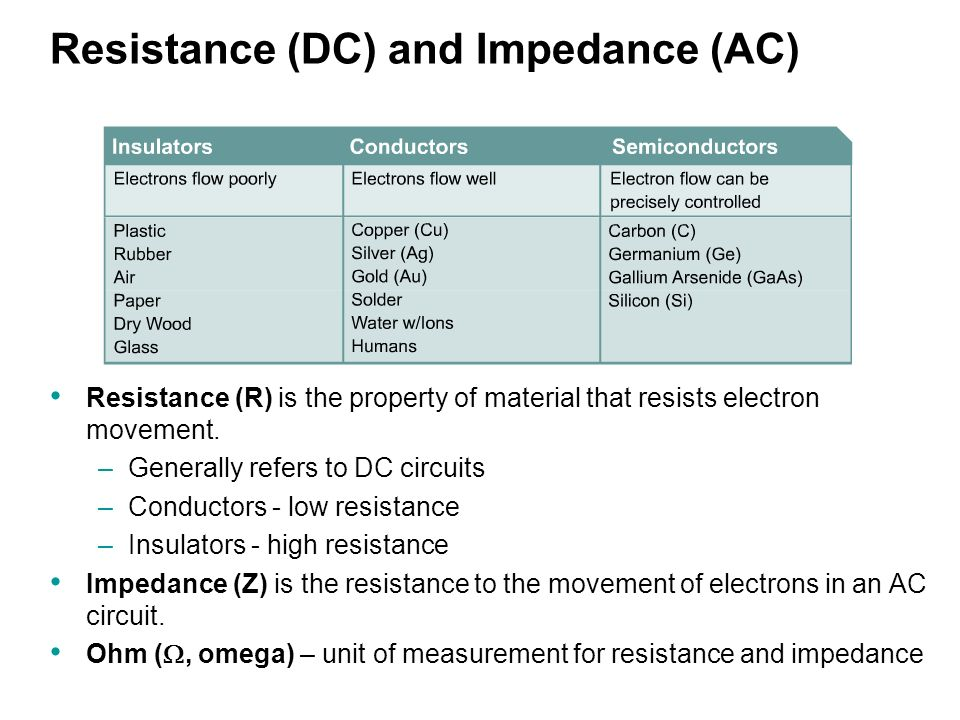Resistance (DC) and Impedance (AC) Resistance (R) is the property of material that resists electron movement.