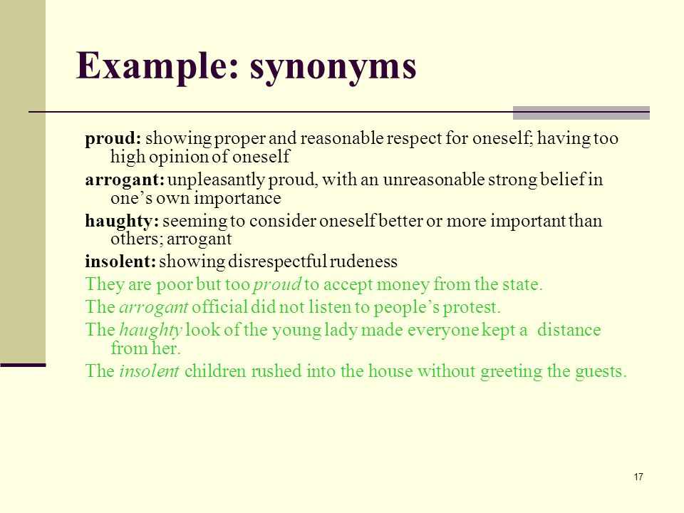 1 diction lecture 2 2 ii using the exact word the exact word suits 17 example synonyms proud showing proper and reasonable respect for oneself having too m4hsunfo