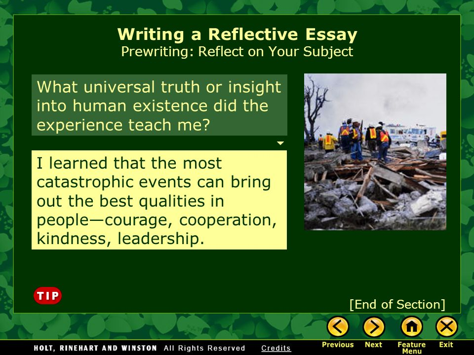 prewriting strategies for reflective essay In a reflective essay, you need to express your thoughts and emotions about certain events or phenomena writing this type of essay provides solid training to sharpen your critical thinking skills, as well as your ability to develop and express opinions on a particular topic—either chosen by yourself or assigned by your instructor.