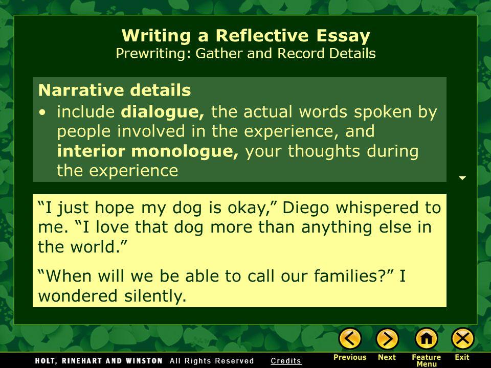 write descriptive reflective essay