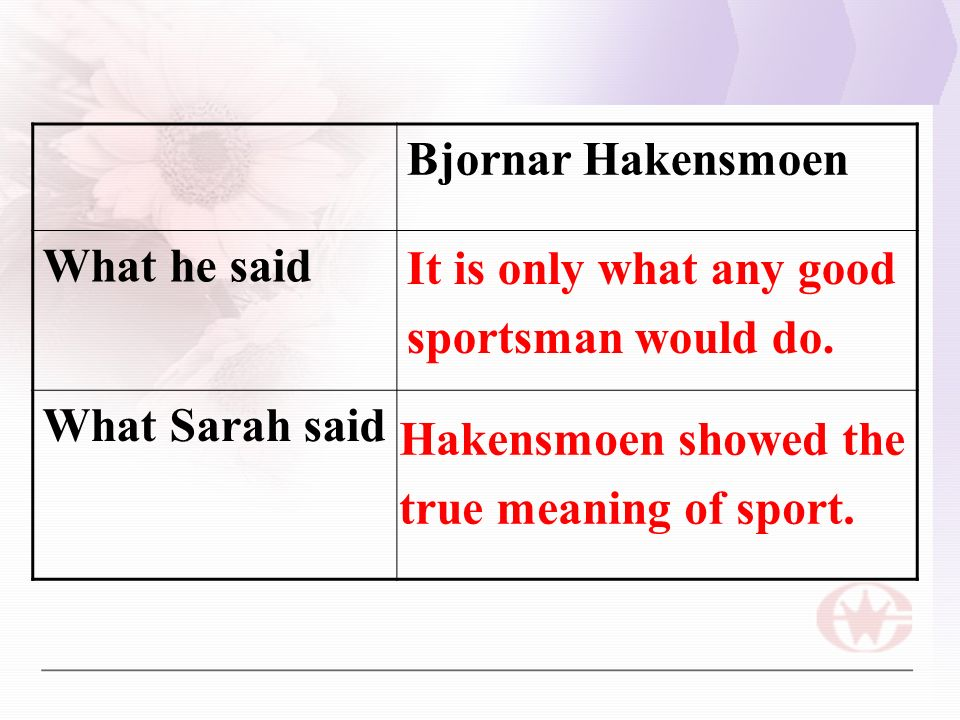 Bjornar Hakensmoen What he said What Sarah said It is only what any good sportsman would do.