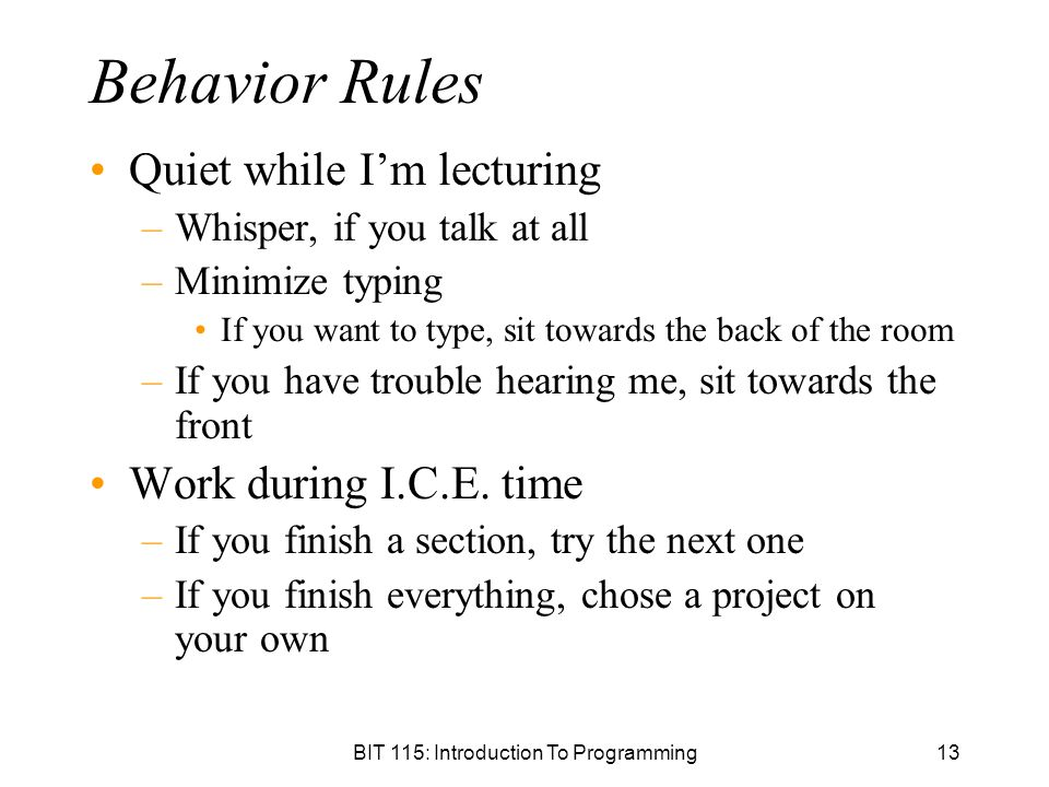 BIT 115: Introduction To Programming13 Behavior Rules Quiet while I'm lecturing –Whisper, if you talk at all –Minimize typing If you want to type, sit towards the back of the room –If you have trouble hearing me, sit towards the front Work during I.C.E.