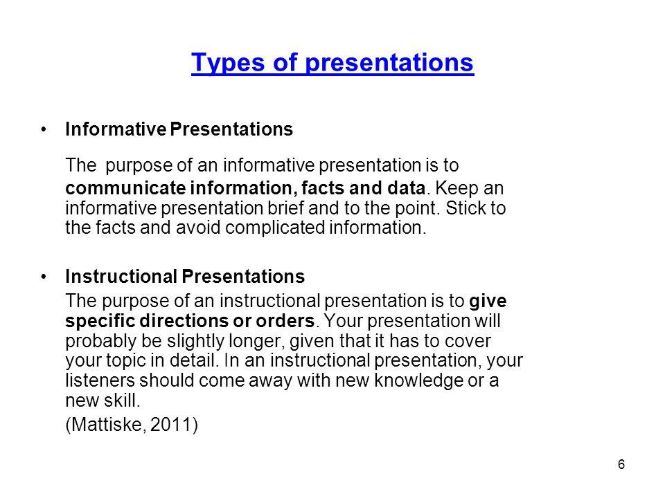 Kinds of presentation